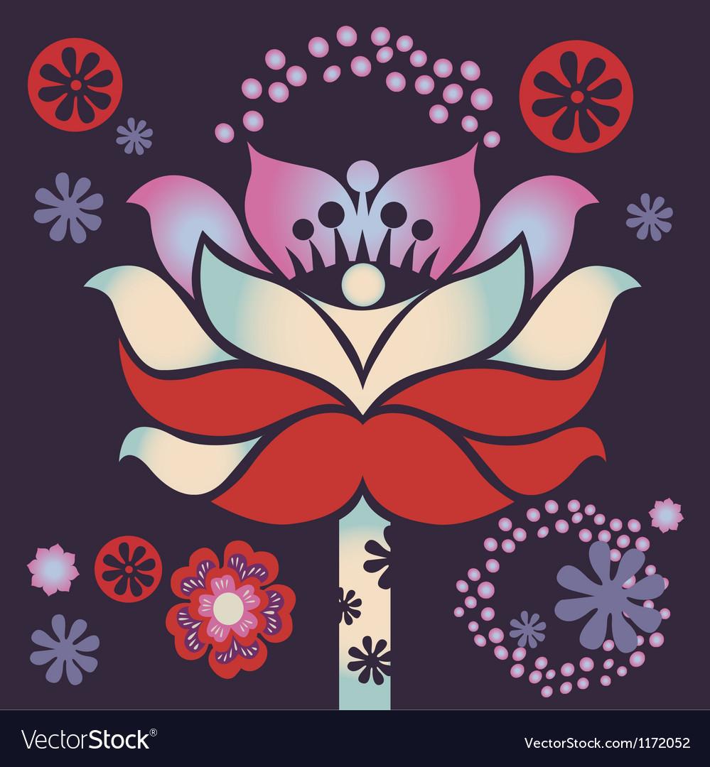 Magic violet blossom vector