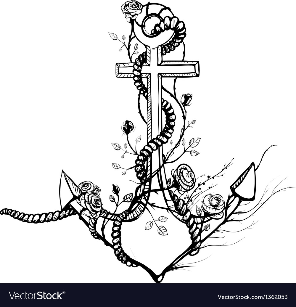 Romantic old anchor with roses black ink vector