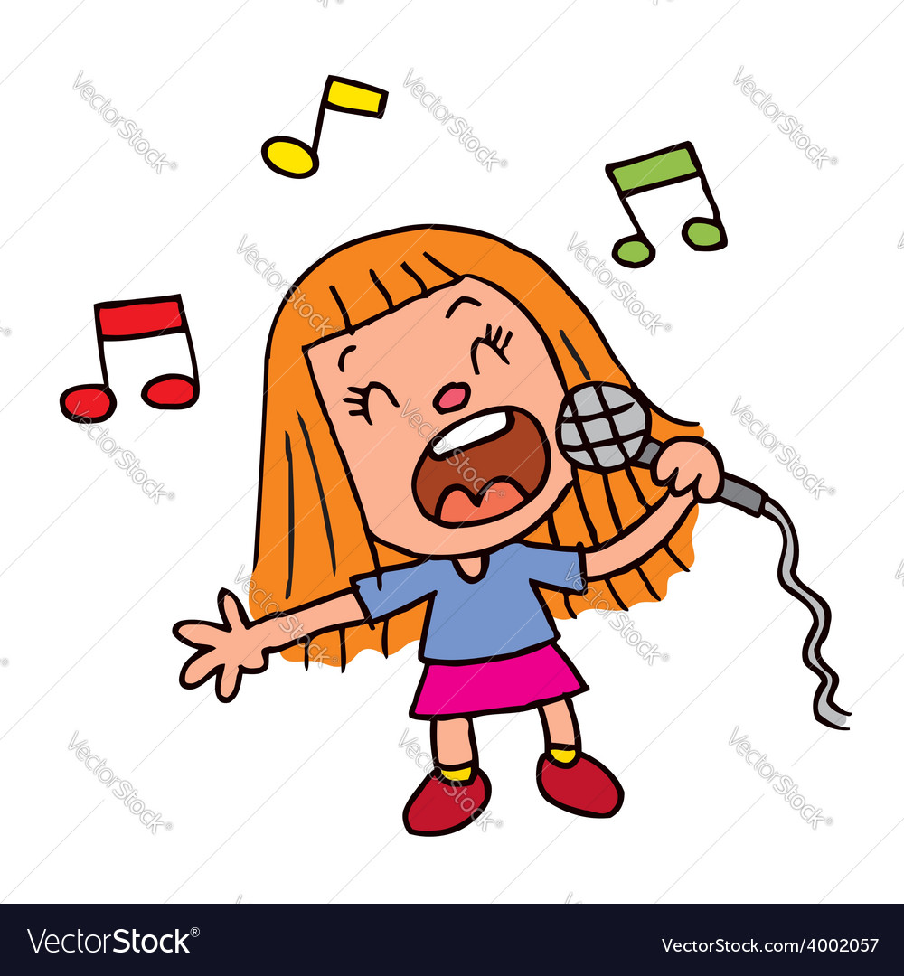Young girl singing into microphone vector