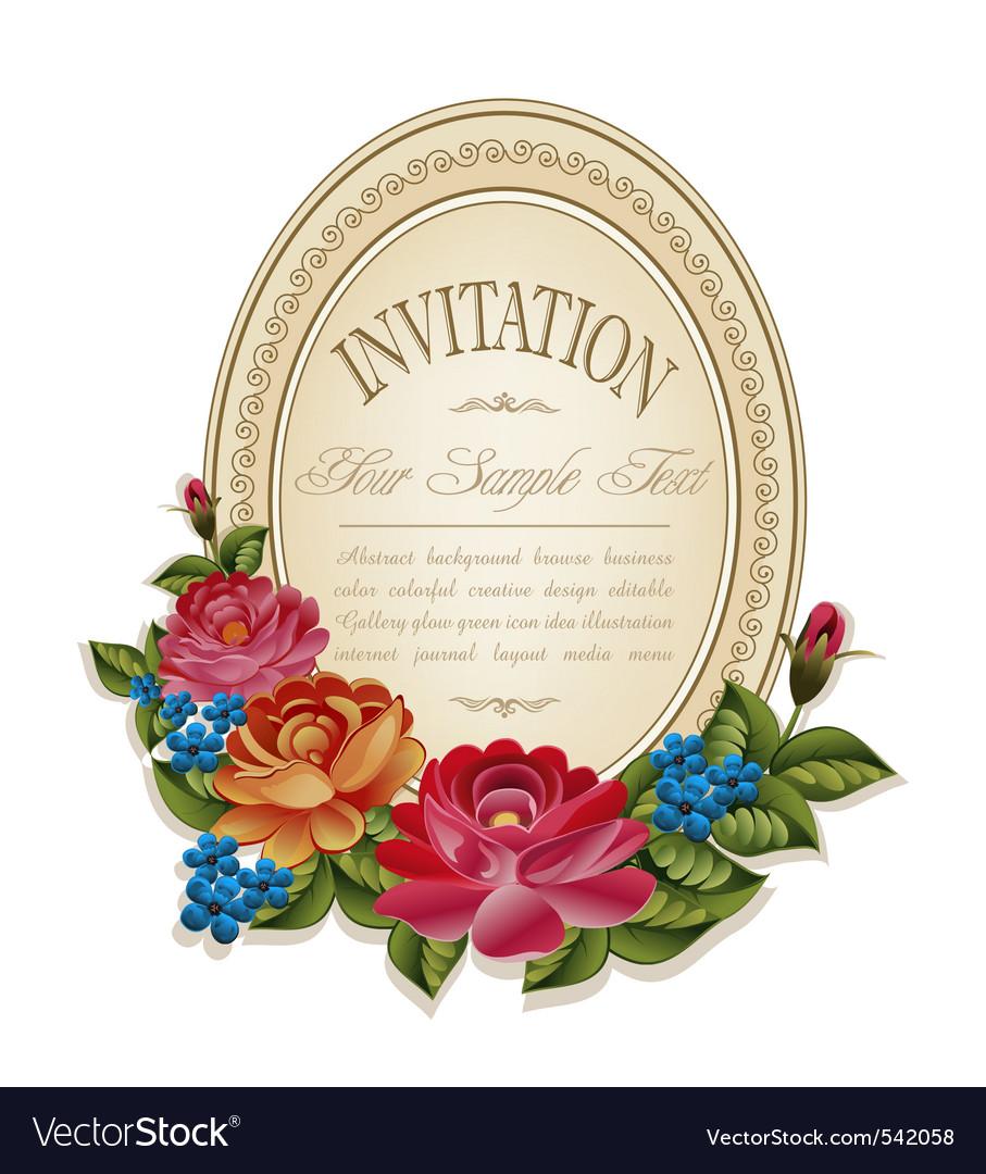 Vintage invitation frame vector