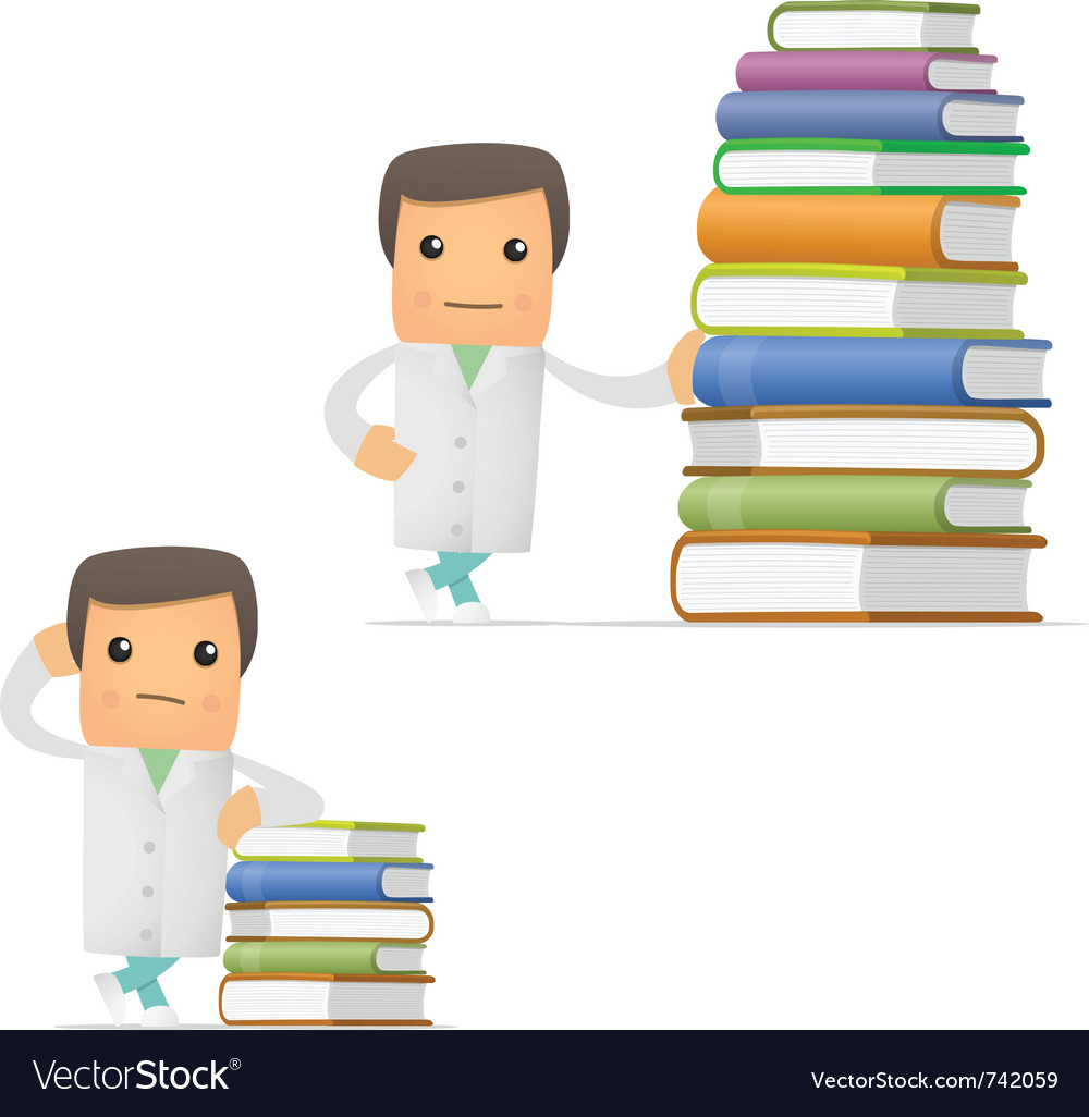 Doctor with books vector
