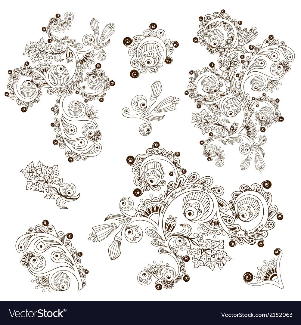 Flower pattern engraving scroll motif for card vector