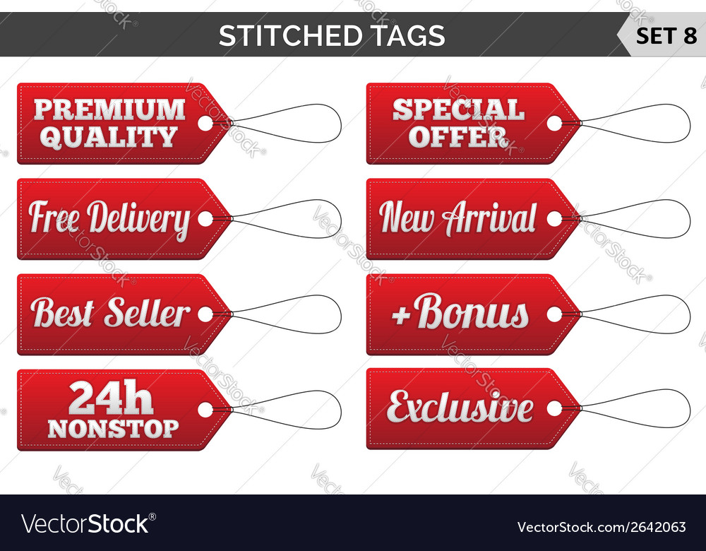 Stitched tags set 8 vector