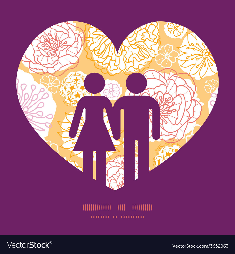 Warm day flowers couple in love silhouettes frame vector