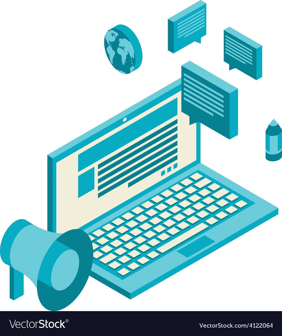 Isometric design modern concept of blogging vector