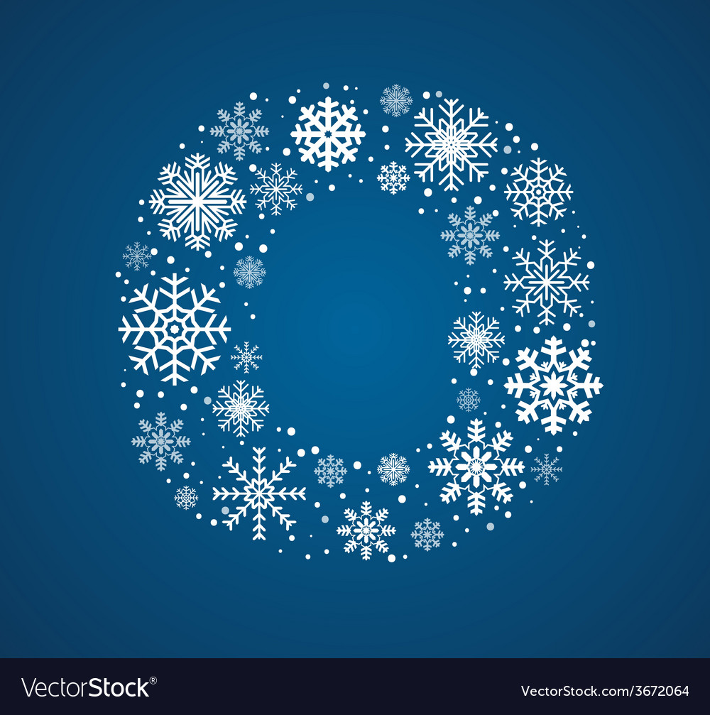Letter o font frosty snowflakes vector