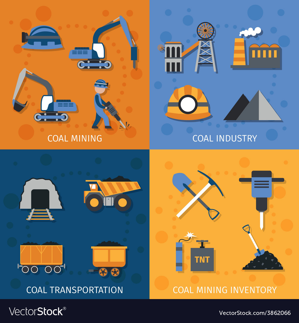 Coal industry set vector