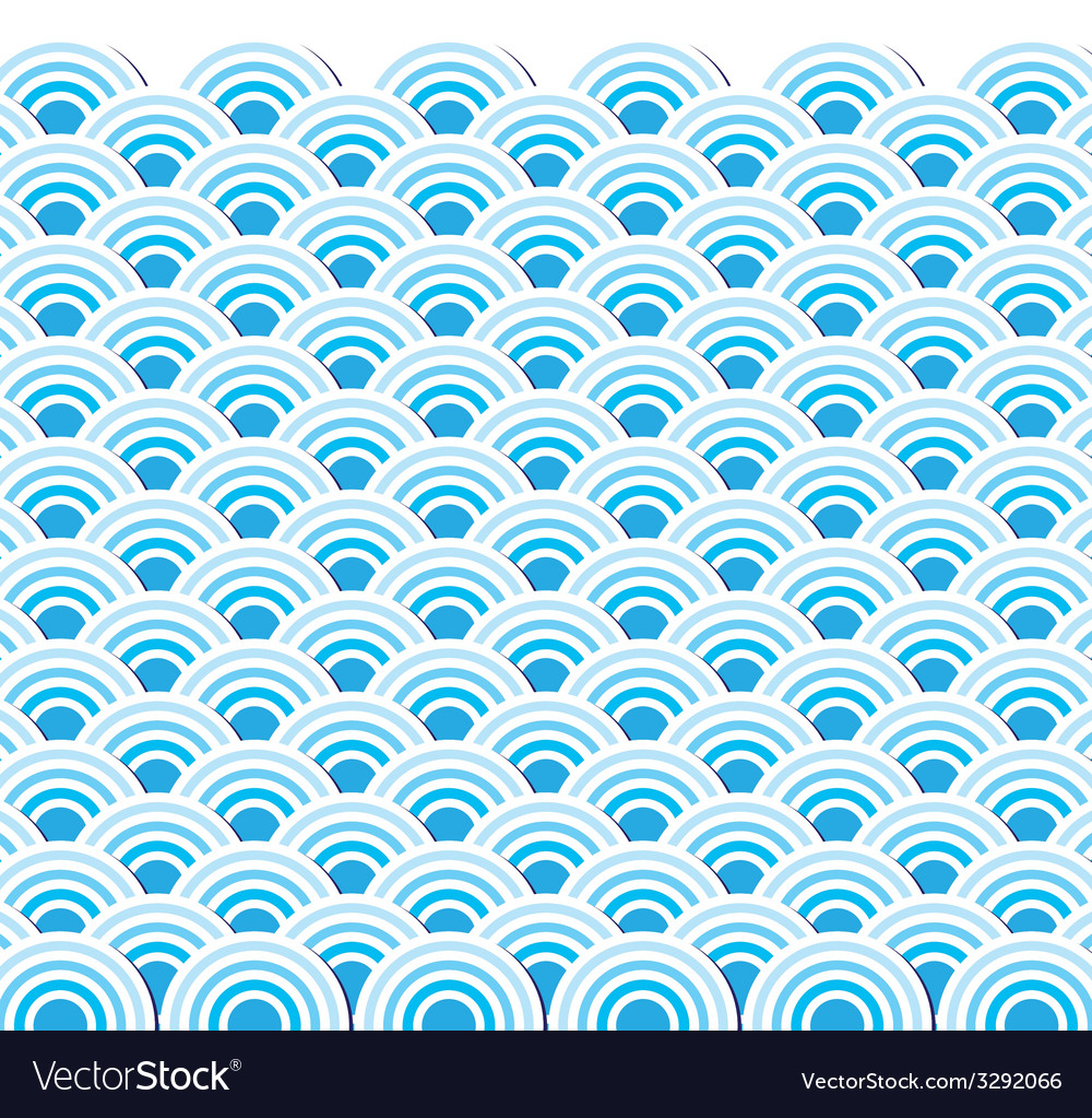 Pattern wave of sea japanese style vector
