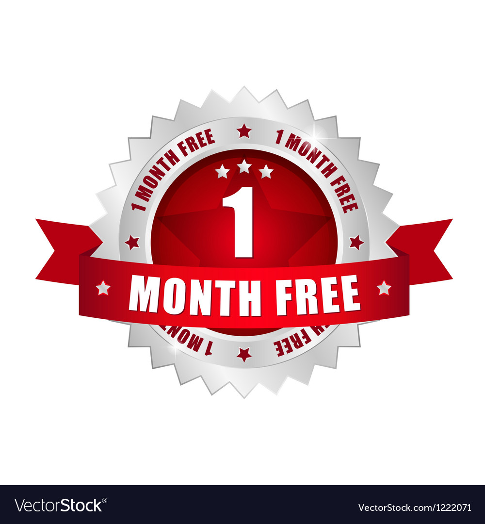 1 month free button vector