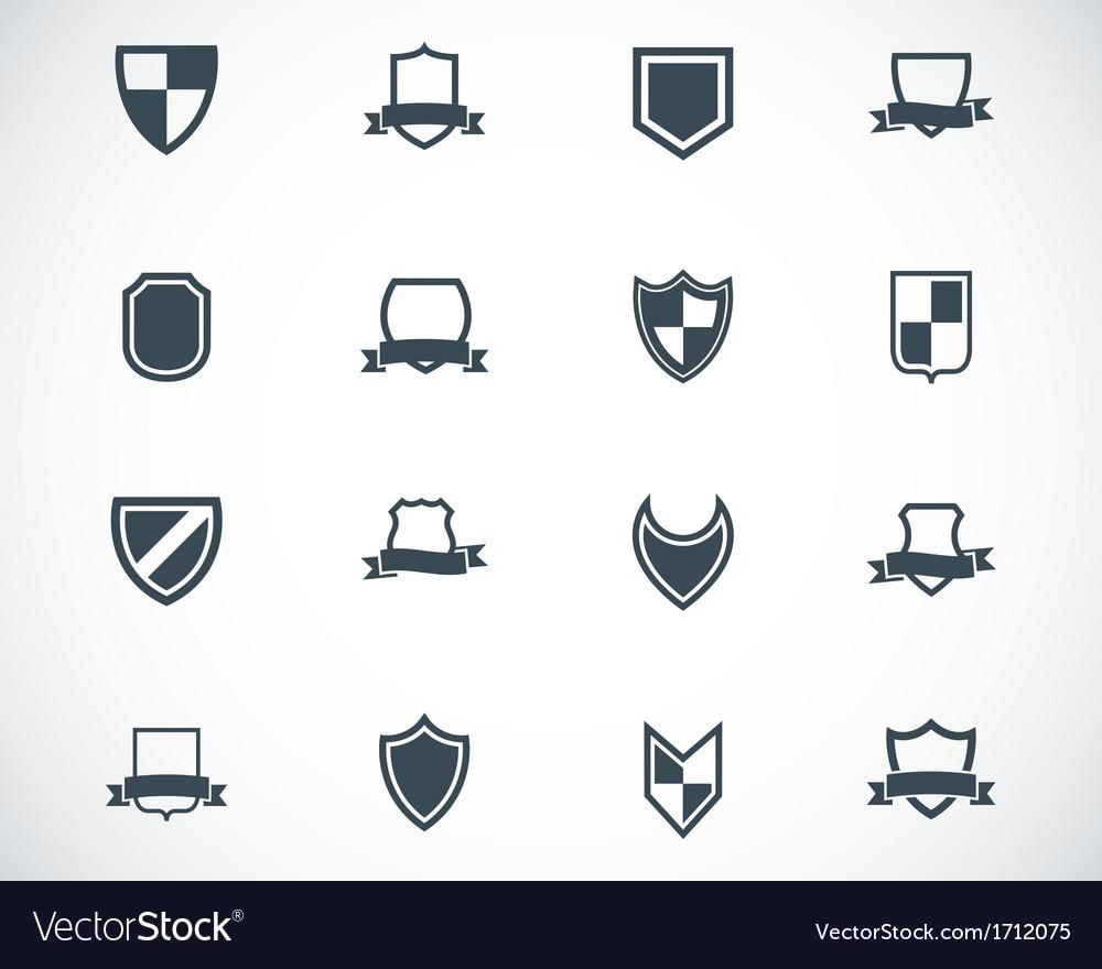 Black icon shield icons set vector