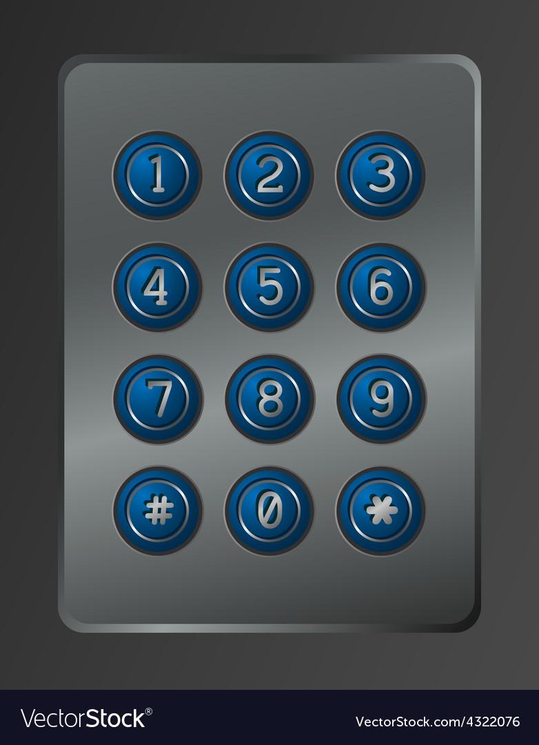 Digital dial plate of security lock vector