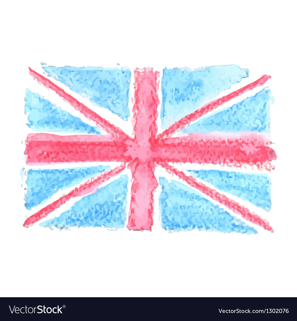 Watercolor british flag uk united kingdom vector