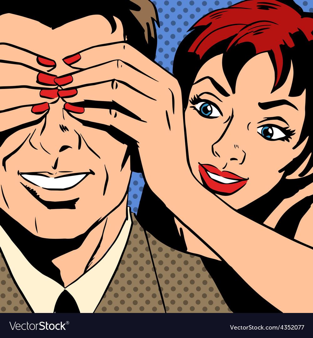 Man and woman talking comics retro style vector
