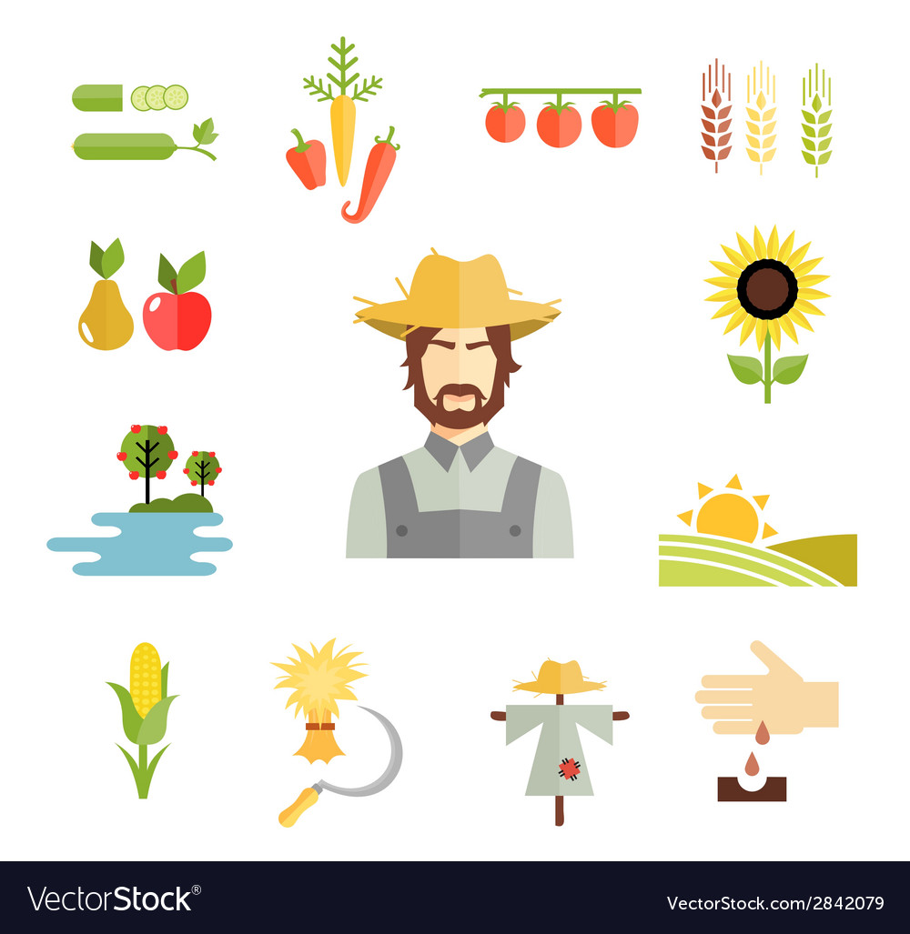 Farm icons for cultivating crops vector
