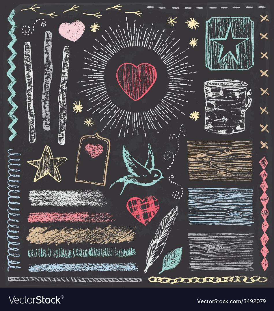 Hand drawn vintage faux bois chalk elements set vector