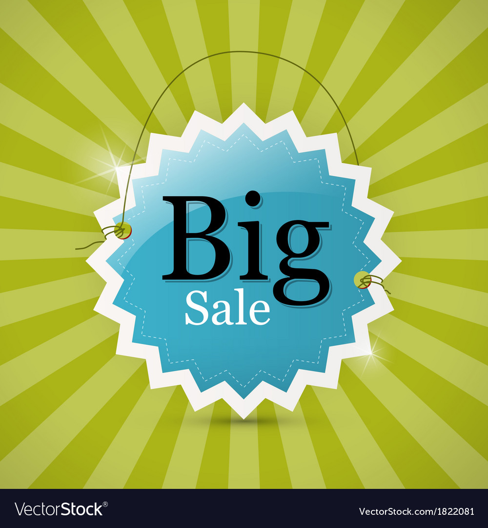 Blue retro big sale tag - label on green vector