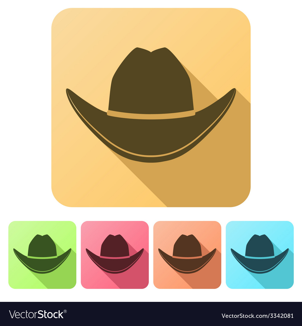 Set flat icons of black cowboy hat vector