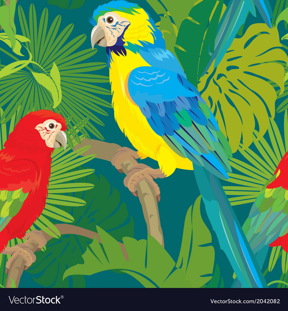 Seamless pattern with palm trees leaves and parrot vector