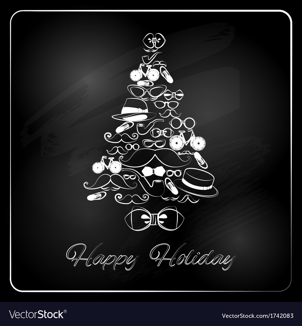 Christmas tree with hipster gifts chalkboard vector