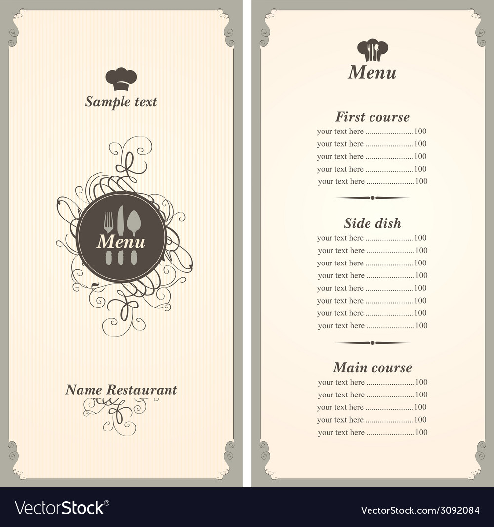 Menu template vector