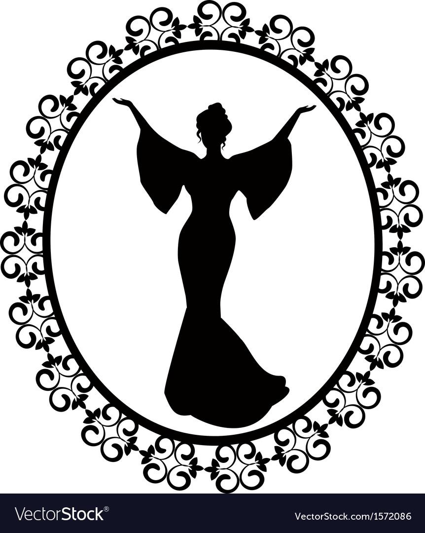 Diva in a carved vintage frame vector