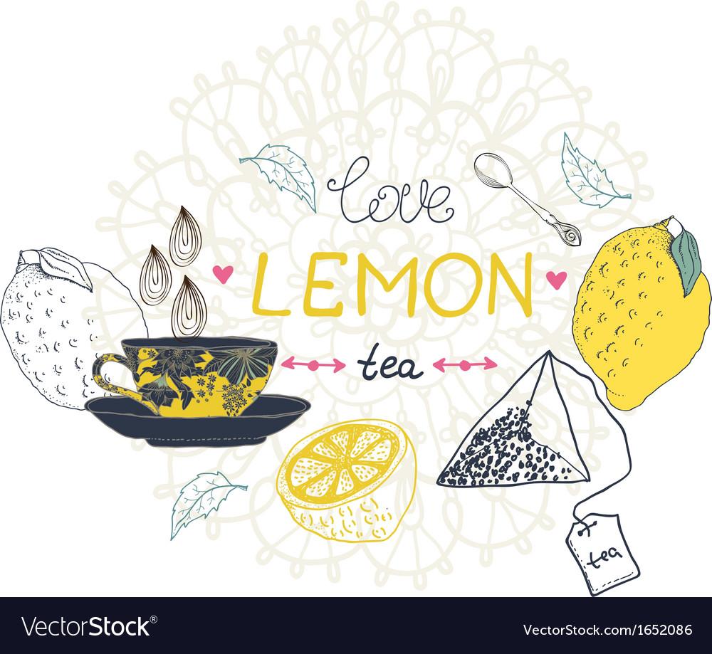 Love lemon tea card vector
