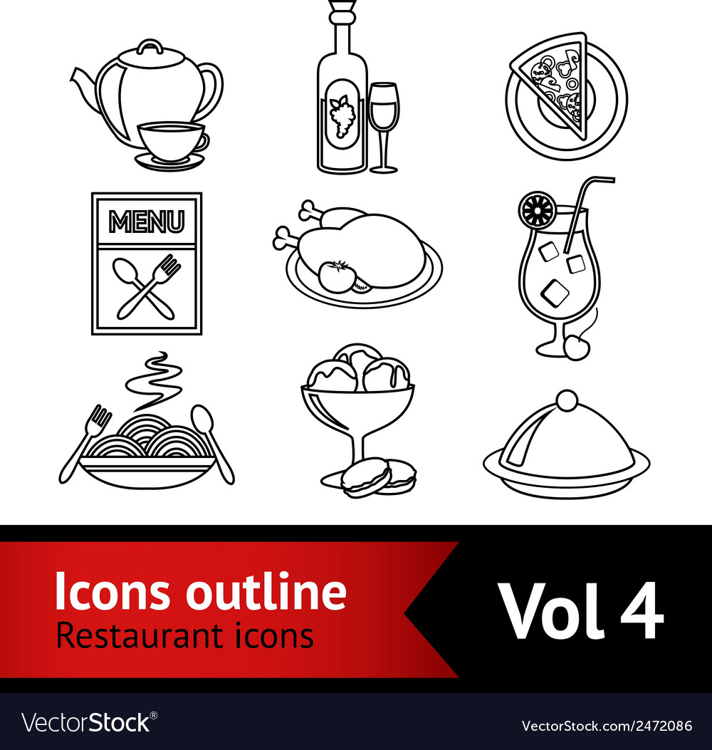 Restaurant food icons outline vector