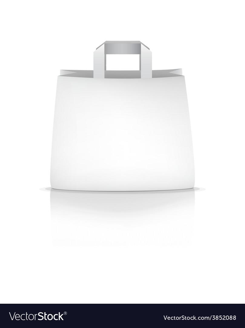 Empty white shopping paper bag vector