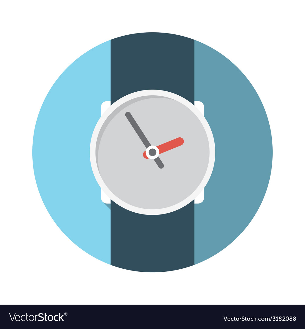 Flat design concept wristwatch with long sha vector