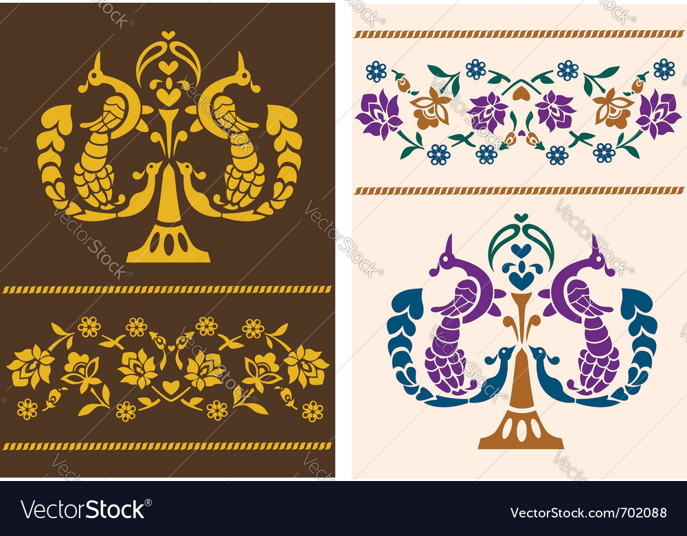 Flower patterns with birds vector