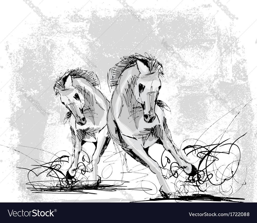 Sketch of white horse running vector