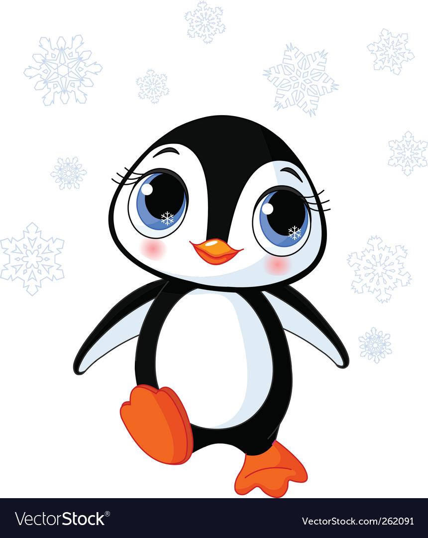Cute winter penguin vector