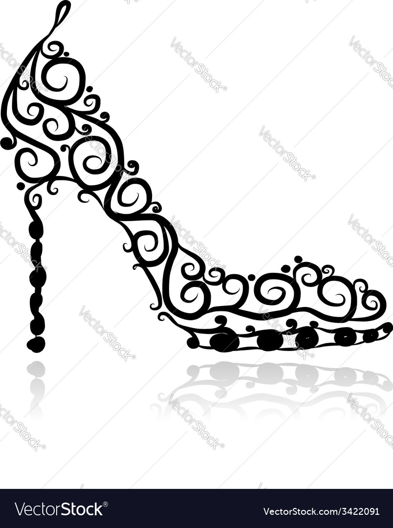 Female shoes sketch for your design vector
