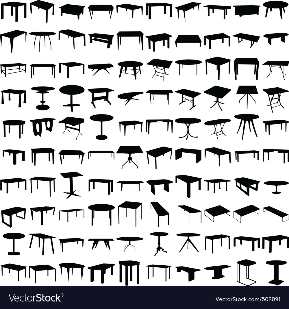 table silhouettes vector