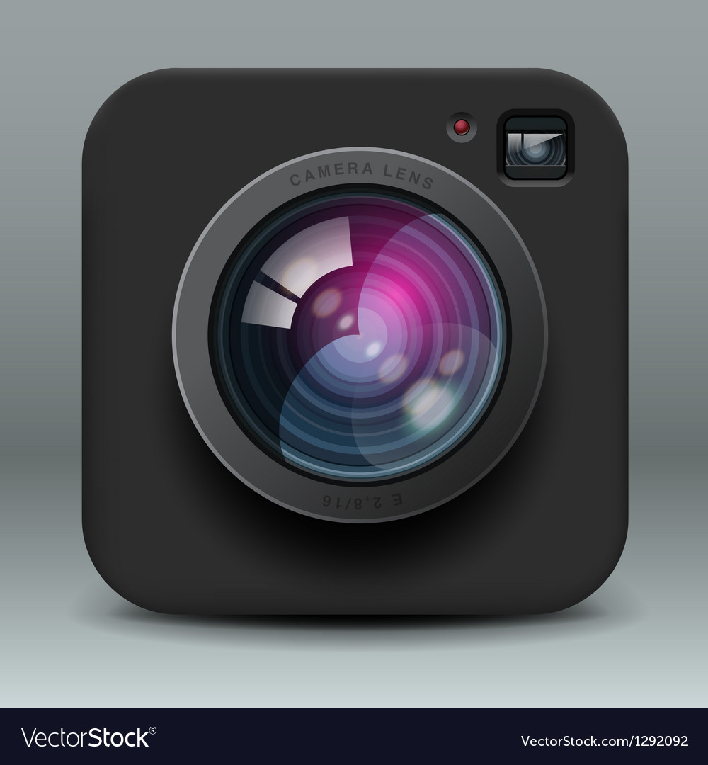 Black color photo camera icon vector