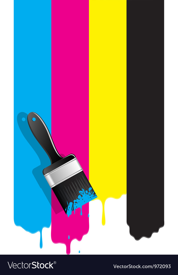 Brush with cmyk paint vector