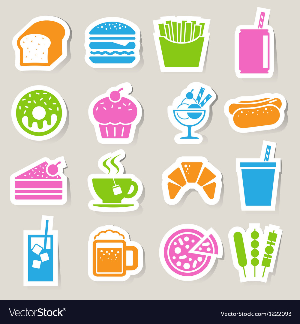 Food drinks sticker icon set vector