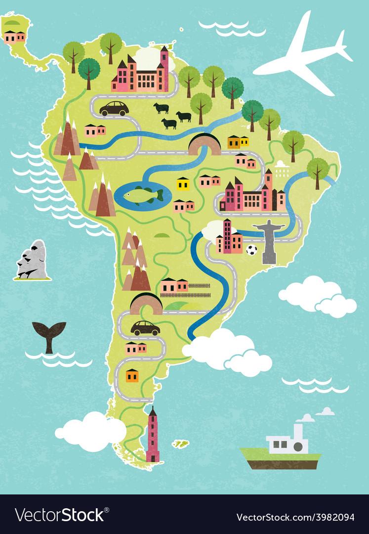 Cartoon map of south america vector