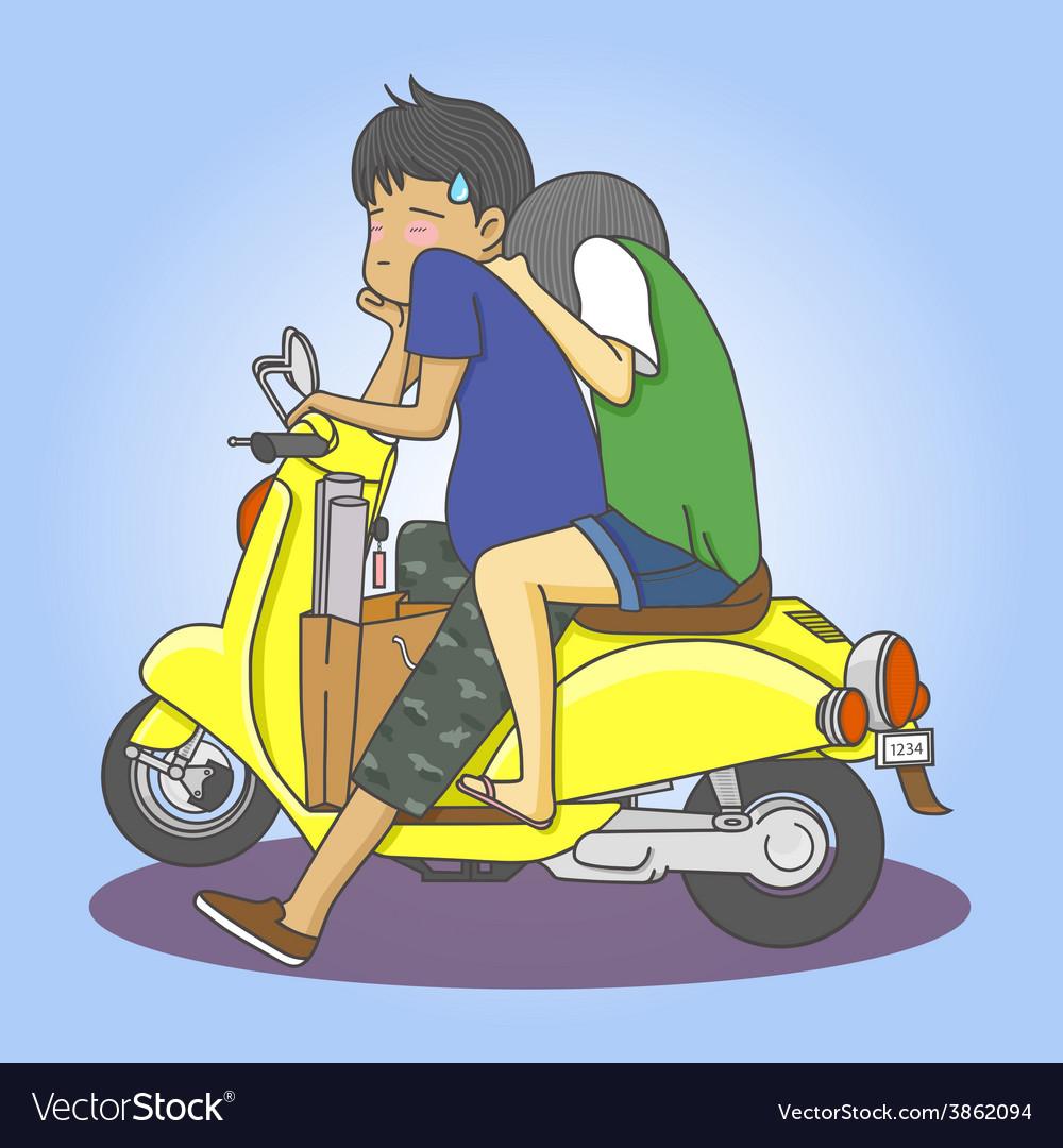 Motorcycle couple vector