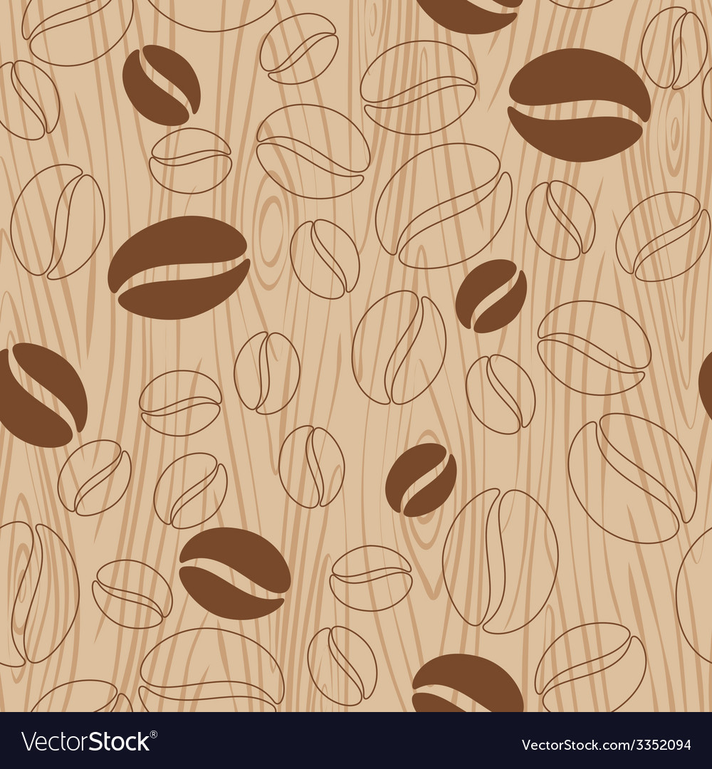 Wooden background with coffee pattern vector