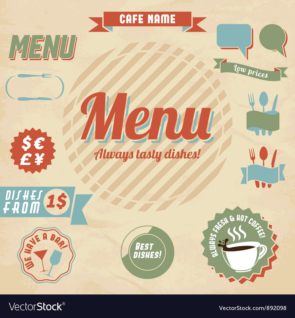 Cafe menu design elements vector