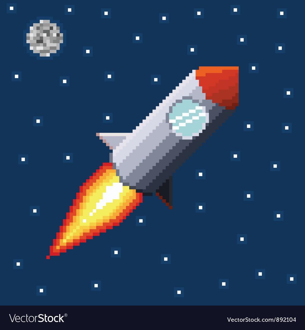 Pixel rocket in space vector