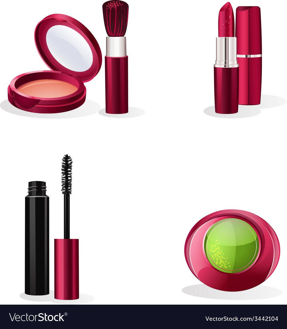 Set of cosmetics makeup vector
