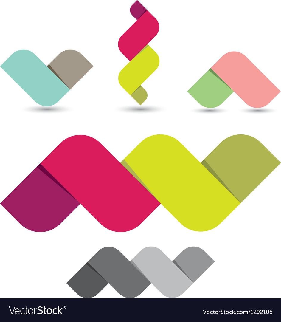 Colorful ribbon shapes vector