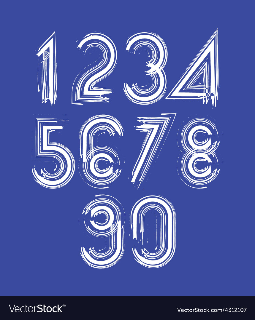 Calligraphic numbers drawn with ink brush white vector