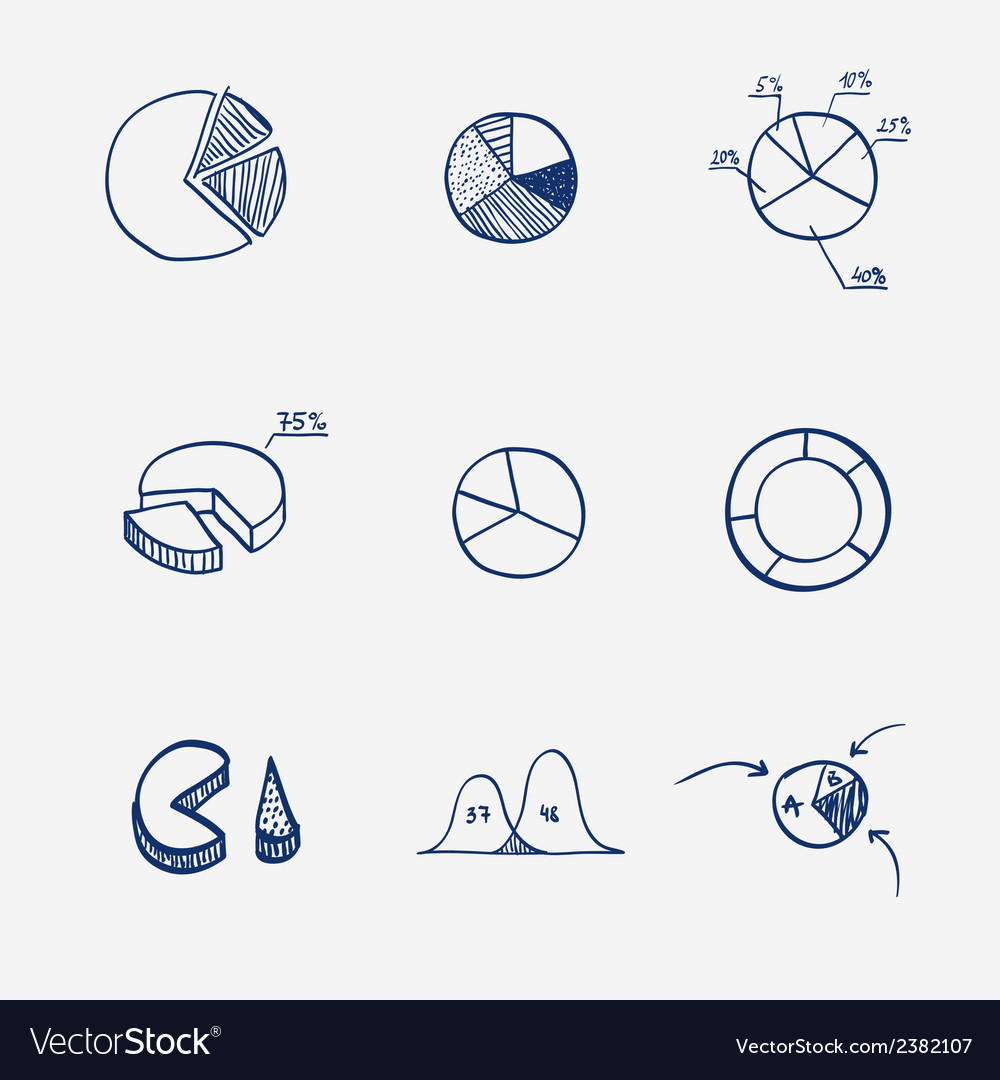 Set of circle chart diagram graph pie hand draw vector