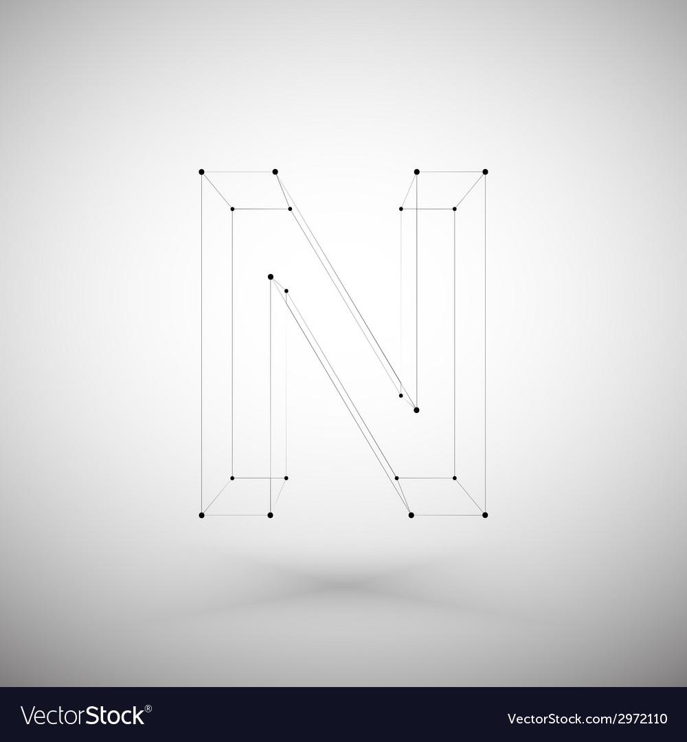 Three dimensional mesh stylish alphabet letter vector