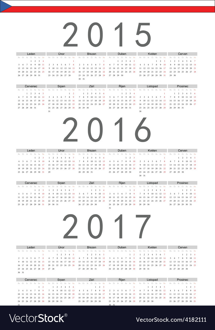 Czech rectangle calendars 2015 2016 2017 vector