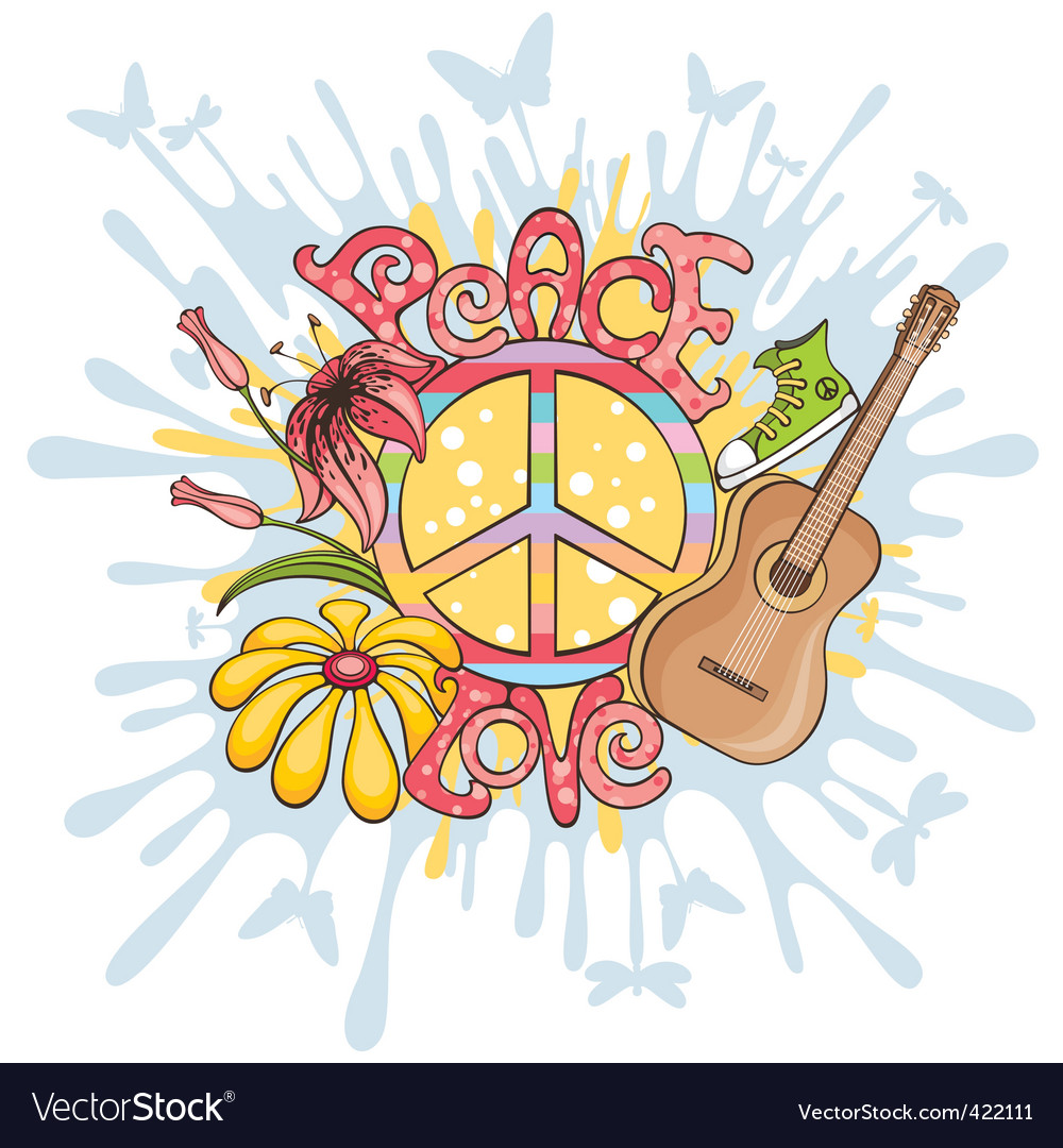 Peace and love background vector