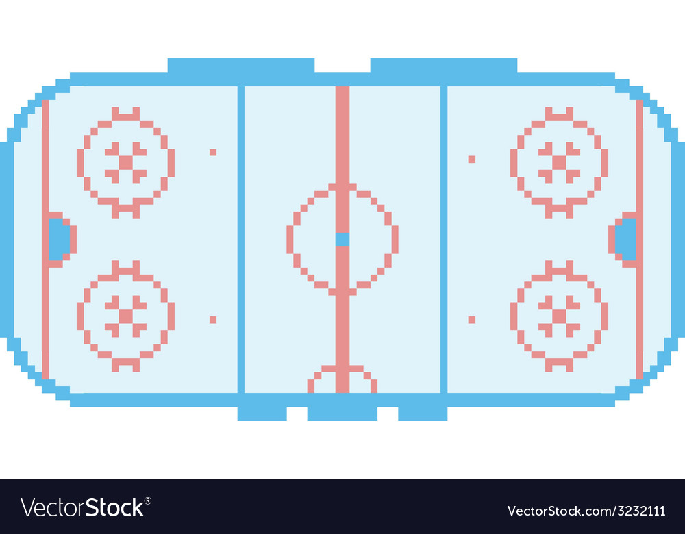 Pixel art hockey stadium playground ice court vector
